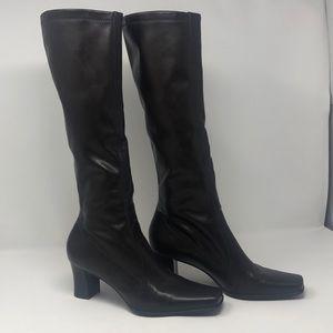 Franco Sarto vegan leather brown knee high boots